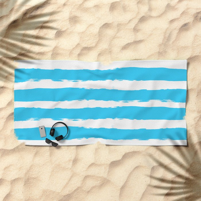 Simply hand-painted teal stripes on white background -Mix & Match Beach Towel
