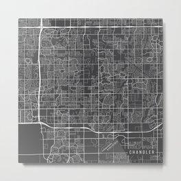 Chandler Map, USA - Gray Metal Print