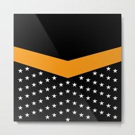 Dynamic Style, White Stars on Black & Orange Metal Print