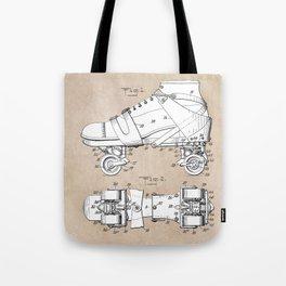 patent art Plimpton Roller Skate 1907 Tote Bag