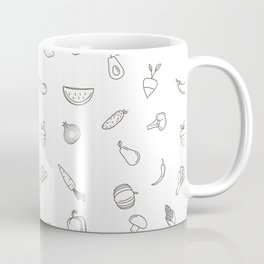 Vegetables and fruit black and white pattern Coffee Mug