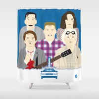movies Shower Curtains featuring 1955 (Faces & Movies) by Alain Bossuyt