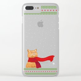 Knitted Wintercat Clear iPhone Case