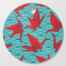 Origami red paper cranes sketch. burgundy maroon line Nature oriental Cutting Board