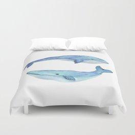 whale watercolor Duvet Cover