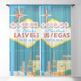 Las Vegas, Nevada - Skyline Illustration by Loose Petals Sheer Curtain