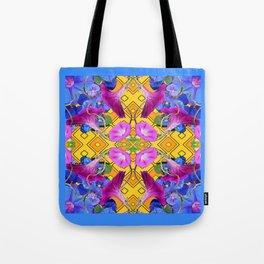 Blue  Patterns Morning Glories & Gold Tote Bag