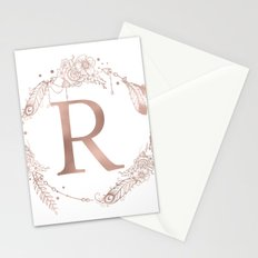 Letter R Rose Gold Pink Initial Monogram Stationery Cards
