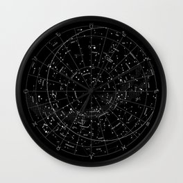 Constellation Map - Black Wall Clock