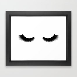 black and white eyelashes Framed Art Print