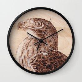 Hawk Portrait - Drawing by Burning on Wood - Pyrography Art Wall Clock