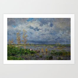 Boat amid the lilies (Pêche_aux_anguilles) by Isidore Verheyden Art Print
