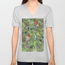 Robins in Blackberry Bush Unisex V-Neck