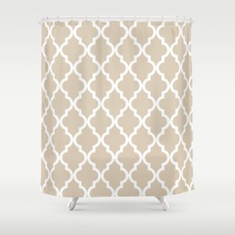 Moroccan Quatrefoil Pattern: Beige Shower Curtain