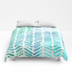 Handpainted Chevron pattern - light green and aqua - stripes #Society6 Comforters