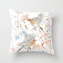 "Watercolor Painting of Picture ""Robins"" Throw Pillow"