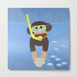 Sock Monkey Snorkeling Metal Print