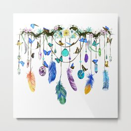 Folkestone Feather, Crystal And Butterfly Spirit Gazer Metal Print