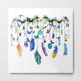 Folkestone Feather, Crystal And Butterfly Spirit Gazer Metal Print