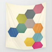 honeycomb Wall Tapestries featuring Honeycomb I by Cassia Beck