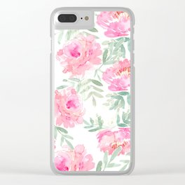 Watercolor Peonie with greenery Clear iPhone Case