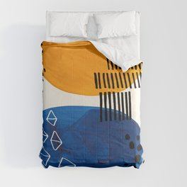 Fun Colorful Abstract Mid Century Minimalist Yellow Navy Blue Whiscial Patterns Organic Shapes Comforters