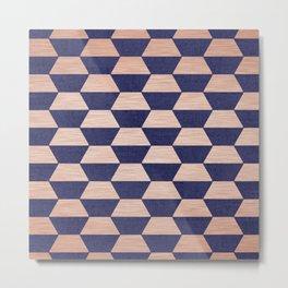 Hexagon Copper & Blue Metal Print