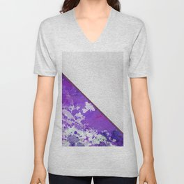 Abstract violet lilac white watercolor paint splatters Unisex V-Neck