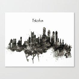 Boston Skyline Black and White Canvas Print