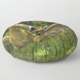 Whitetail Deer and Cute Spring Fawn Floor Pillow