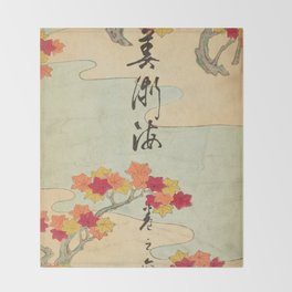 Vintage Japanese Maple Leaf and River Print Throw Blanket