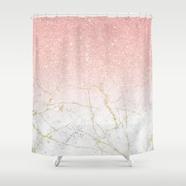 Rose Gold Glitter and gold white Marble Shower Curtain