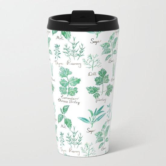 green herbs family watercolor Metal Travel Mug