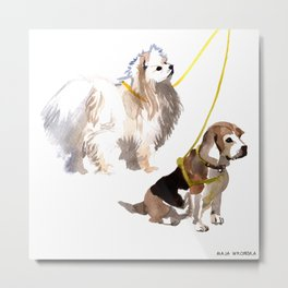 watercolor dog vol4 eskimo and beagle Metal Print