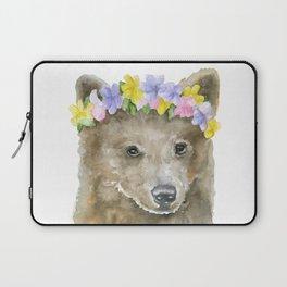 Brown Bear Floral Watercolor Laptop Sleeve