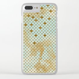 Mermaid Scales- Mermaidscales Gold and Aqua Fish Scales Clear iPhone Case