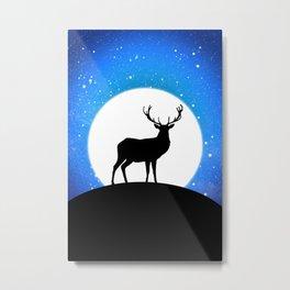 Deer and Moon Metal Print