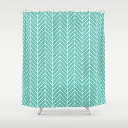Turquoise Herringbone Pattern Shower Curtain