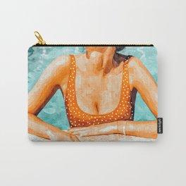 Mi Bebida Por Favor Painting, Mexico Summer Travel Woman Swim Pool, Spanish 70's Beauty Vintage Carry-All Pouch