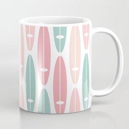 Vintage Surf Boards in Pastel Pink Coffee Mug