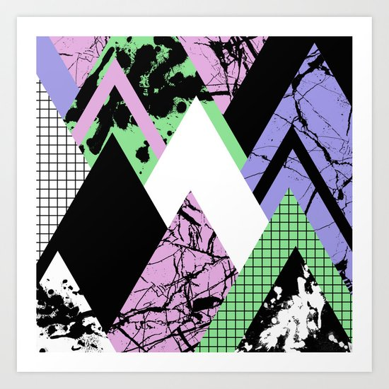 Textured Points - Marbled, pastel, black and white, paint splat textured geometric triangles Art Print