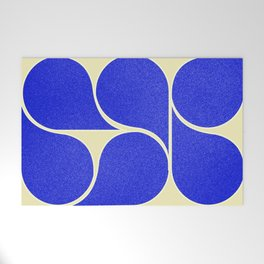 Blue mid-century shapes no8 Welcome Mat