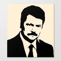 parks and recreation Canvas Prints featuring Ron Swanson - Parks and Recreation by Joe Bidmead