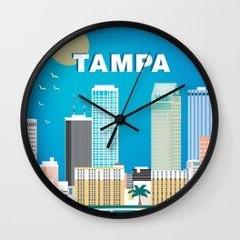 Tampa, Florida - Skyline Illustration by Loose Petals Wall Clock