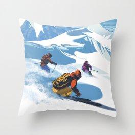 Retro Travel Heliski ski Revelstoke poster Throw Pillow