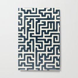 maze in dark blue Metal Print