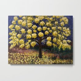Golden Yellow Tree Metal Print