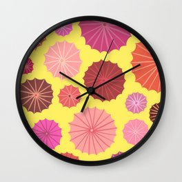 Umbrellas from above in yellow Wall Clock