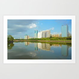 Shadows of buildings in water with plants Art Print