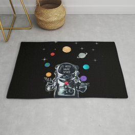 Astronaut Juggling the Solar System Rug